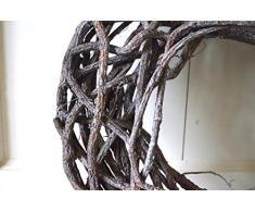 Kranz Rattan Korb rund grau Weihnachtsdeko Tischdeko Tür-Deko Türkranz Shabby Deko ca. 36cm Durchm.