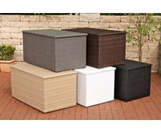 CLP Polyrattan-Aufbewahrungsbox I Gartentruhe für Kissen und Auflagen I In verschiedenen Farben und Größen erhältlich L = 438 Liter, Schwarz