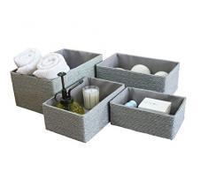 La Jolíe Muse Aufbewahrungskorb Aufbewahrungsboxen, Biologisch Handarbeit aus Papier Pappe, Graue Umweltfreundliche Körbe für Accessoires Schminke 4er Set