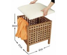 Walnuss Wäschehocker mit abnehmbarem Sitzkissen
