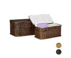 Relaxdays Truhe 2er Set geflochten Rattan eckig H x B x T: 26 x 50 x 29,5 cm stapelbare Korbtruhe mit herausnehmbarem Innenfutter waschbar ca. 28 L Rattantruhe atmungsaktiv und dekorativ, rotbraun