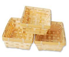 Lashuma 3er Korb Set rechteckige Bambus Körbchen, Flacher Füllkorb ca. 20 x 12 x 6 cm, Spankorb Natur