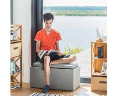 Relaxdays Sitztruhe mit Stauraum, H x B x T: 42,5 x 78 x 40 cm, Aufbewahrungsbox, Polster, Leinen Optik, grau