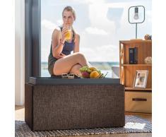 Relaxdays Sitztruhe mit Stauraum, H x B x T: 42,5 x 78 x 40 cm, Aufbewahrungsbox, Polster, Leinen Optik, braun