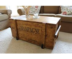 Uncle Joe´s 75770 Truhe Couchtisch Holzkiste Champagne, vintage, shabby chic Holz 85 x 45 x 46 cm, Hellbraun
