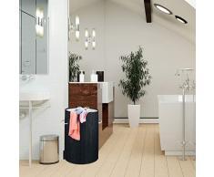 Relaxdays Wäschekorb Bambus, offen, runder Wäschesammler, f. 40l Schmutzwäsche, faltbar, Wäschetonne 50 cm hoch, schwarz