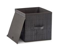 EZOWare Aufbewahrungsbox aus Bambus Deko Faltbox Aufbewahrungskorb Cube mit Griffen und Abnehmbar Grauer Stoff Innenliner 26,7 x 26,7 x 28 cm, Schwarz