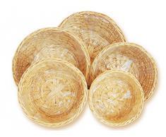 runde, große Weidenkörbe im 5er Blumentopf Korb Set, Pflanzkorb beige mit Folie, Korbschale in 5 Größen