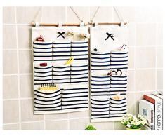 Baanuse Aufbewahrungstasche Hängeorganizer Multifunktionale Wohnzimmer Schlafzimmer Bad, 8 Taschen Blau Streifen