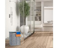 Relaxdays Wäschekorb Bambus, rechteckiger Wäschesortierer, 2 Fächer, mit Klappdeckel, platzsparend faltbar, 95 l, grau