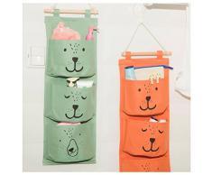Inwagui Multifunktionale Hängeorganizer,Wand hängenden 3 Tasche Hanging Storage Bag Wand Hängen Hängeorganizer Hängende Tasche Wand Utensilo-Grün