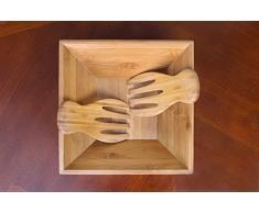 SM Bowls Bambus-Salatschüssel mit Servierlöffeln: Dieses nachhaltige Set enthält eine große quadratische Schale und passendes Salatbesteck.