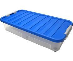 HEIDRUN Unterbettbox, Unterbett-Rollbox, 80 x 40 x 18 cm, mit farbig sortiertem Deckel, mit Rollen, 40 l, aus Kunststoff