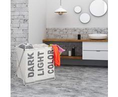 Relaxdays, weiß 3er Wäschesortierer, Klappgestell, getrennter Wäschesack, 3 Fächer, 90 Liter, XXL Wäschekorb, eckig, Standard