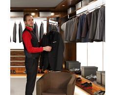 Relaxdays, schwarz Kleiderbügel für Anzüge, 10er Set, Anzugbügel, gummiert, aus Metall, rutschfest, platzsparend, 44 cm, mi PVC-Beschichtung, Pack