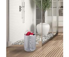 Relaxdays, Grau Wäschekorb, faltbar mit Henkel, 55 l Volumen, runder Wäschesammler, H x Ø: 55 x 50 cm, Standard