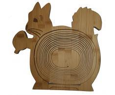 Faltkorb Eichhörnchen Klappkorb 30 x 30 cm aus Bamboo Bambusholz Faltkorb Holzkorb Korb Schale aus Bambus Obstkorb Dekoschale Obstschale Holz faltbar Gemüseschale Obstteller, ideal auch als Untersetzer für Töpfe, Pfannen etc.