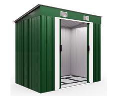 Deuba L Metall Gerätehaus 3,4m³ mit Fundament 196x122x180 cm Schiebetür Grün Geräteschuppen Gartenhaus Schrank