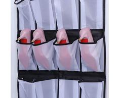TOPBATHY Hängeorganizer Stoff Hängeaufbewahrung 24 Pocket Kleiderschrank Tür Hängeregal Faltbar Schrank Aufbewahrung Hängend für Schlafzimmer Wohnzimmer Badezimmer (schwarz und weiß)