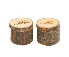 WINOMO Ehering Kissen Träger Box aus Holz gedruckten Herr Frau Shabby Chic rustikale 2pcs