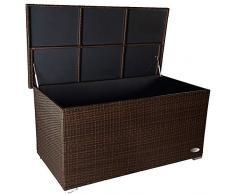 PREMIUM Venezia 950 L Polyrattan Garten Kissenbox wetterfest (regnet nicht rein) 146 x 83 x 80 cm, Auflagenbox mit verstärktem Deckel und Gasdruckfedern, auch als Tischplatte geeignet, Java Braun