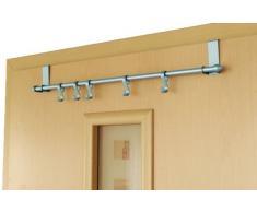 axentia Türgarderobe in Silber mit 5 Haken - Hängegarderobe ohne Bohren - Garderobe zum Einhängen in die Tür - Metall Türhakenleiste für Küche & Bad