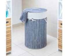 Relaxdays Wäschekorb Bambus, faltbare Wäschetonne mit Deckel, Volumen 70 Liter, Wäschesack Baumwolle, rund Ø 41 cm, grau