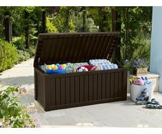 Koll Living Auflagenbox/Kissenbox Merano 570 Liter l mit Belüftung dadurch kein übler Geruch/Schimmel l Moderne Holzoptik in der Farbe Braun l Deckel belastbar bis 250 KG (Sitzplatz für 2 Personen)
