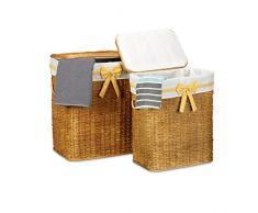 Relaxdays Wäschekorb 2er Set geflochten Buri eckig H x B x T: 56,5 x 46,5 x 33,5 cm stapelbare Wäschetruhe mit herausnehmbarem Wäschesack ca. 67 L Wäschesammler mit Schleife atmungsaktiv, honigbraun