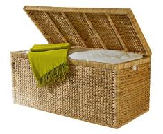 Artra Design Geflecht Truhe mit Klappdeckel 95 cm, Natur atmungsaktiv Aufbewahrungsbox mit Deckel Aufbewahrungskiste Aufbewahrungstruhe Wäschetruhe