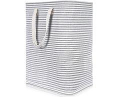 Lifewit Wäschekorb Groß Wäschesammler Faltbar Wäschebox Wasserdicht Wäschesortierer Aufbewahrungsbox mit Griffe, Grau, 72L, 40x30x60cm