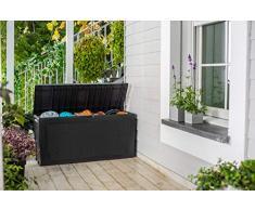 Auflagenbox/Kissenbox 270 Liter, Farbe: Graphit - 100% Wasserdicht - mit Belüftung dadurch kein übler Geruch/Schimmel - stilvolle Rattan Optik - einfache Montage - mit Rollen und Griffen
