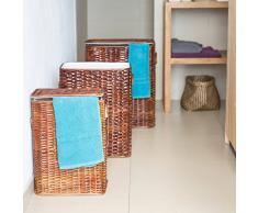 Relaxdays Wäschekorb 3er Set geflochten Rattan eckig HBT: 54,5 x 45,5 x 33,5 cm stapelbare Wäschetruhe mit herausnehmbarem Wäschesack waschbar Wäschebox ca. 69 L Wäschesammler atmungsaktiv, rotbraun