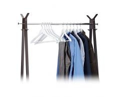 Relaxdays Kleiderbügel Set Holz, 20er Pack Garderobenbügel, Hemden & Hosen, 360° drehbar, Bügel HxB 23 x 44 cm, weiß