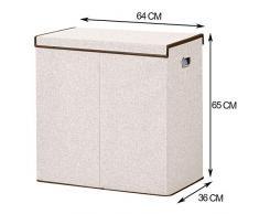 BRIAN & DANY 150L Wäschekorb Zwei Fächer Wäschebox Faltbar Wäschesammler Wäschetruhe Wäschetonne mit Magnetischem Deckel, 65 x 64 x 36 cm, Beige