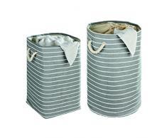 WENKO 35521100 Wäschesammler Maritim rund - Wäschekorb, Fassungsvermögen 75 L, 100 % Papierstoff, 40 x 60 x 40 cm, Grün