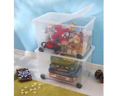 Rotho 1419900096 Allzweckbox Clear Box Splito, 60 L mit Rollen