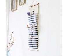 Inwagui Stoff Hängeorganizer Taschen Streifen Hängeaufbewahrung Wand Tür Hänge Aufbewahrung Badezimmer Büro - 6 Taschen Blau