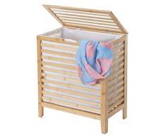 Mendler Wäschekorb HWC-B92, Laundry Wäschetruhe Wäschebox Wäschesammler Wäschebehälter Wäschetonne, Bambus 61x51x31cm 65l