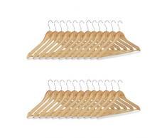 Relaxdays Kleiderbügel Set, 24 Hosenbügel aus Holz, Garderobenbügel, Haken 360° drehbar, HxB: 22,5x44,5cm, natur/silber