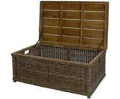 Stabiler Couchtisch auch als Holztruhe, Holzkiste XXL einsetzbar / aus echtem Rattan und Holz / massive Kiste, Truhe für Brennholz (110x70cm)