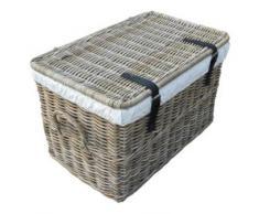 Rattankorb mit Deckel, Flechtkorb mit Deckel/Truhe aus unbehandeltem Natur-Rattan, Rattantruhe, Grau, 62x38x38 cm (Small)
