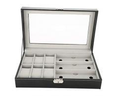 6+3 Grid Brille und Uhr Aufbewahrungsbox, PU Kohlefaser Ledertasche Watch Schmuckschatulle Armband Organizers Display Boxen mit Kissen, Glasdeckel, Silber verschließbare Schnalle