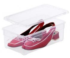 Sundis 3343094094 4-er Set Clear Box Lady Shoe 5 l, Aufbewahrungsbox mit Deckel, QR-Code AppMyBox, transparent, stapelbar, Kunststoff/Plastik (PP)