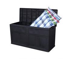 Slabo Auflagenbox mit wetterfesten Stauraum | Aufbewahrungsbox | Sitzbank | Gartenbox | Kissenbox mit klappbarem Deckel | Volumen 320 L 119x46x60cm - Schwarz