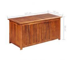 Festnight- Garten Aufbewahrungsbox Auflagenbox mit Stauraum Gartenbox Kissenbox Tischtruhe Massives Akazienholz 117 x 50 x 58 cm