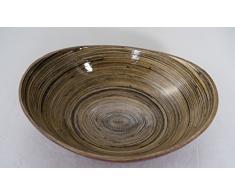 Bambusschale Bootform, Größe: 3528x11x, Farbe: Glänzend Rot/Grau/Schwarz, geeignet für Gebäck, Brot, Salat und mehr, Handarbeit, Neu (07LRG)