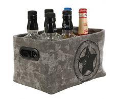 Aufbewahrungskorb Aufbewahrungsbox Dekokorb ILJANA 2 | Kunststoff | Grau mit Stern