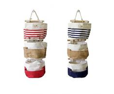 Fieans Hängeorganizer,Wand hängenden,Hanging Storage Bag,Wand Utensilo 3 Tasche Tür zurück Aufbewahrungstasche Hängende Multifunktionale Hängenden Tasche-Rot