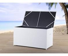 Rattantruhe Weiss - Rattan Kissenbox - Auflagentruhe - Auflagebox 160 cm - Gartenmöbel - MODENA